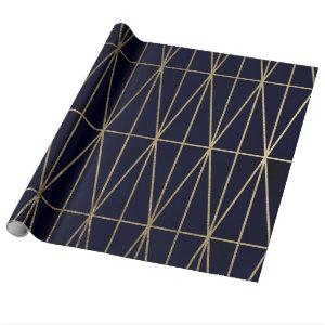 Gold geometric triangles navy blue watercolor wrapping paper