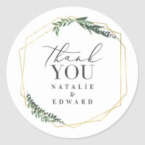 Gold geometric watercolor leaves wedding stickers