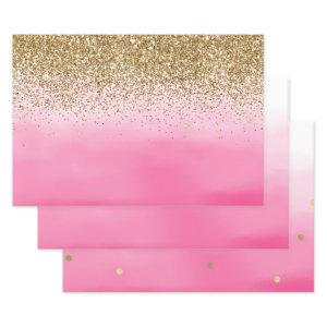 Gold Glam Glitzy Sparkle Glitter Pink Ombre Wrapping Paper Sheets