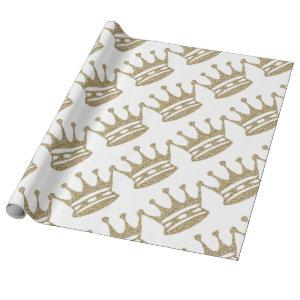 Gold Glitter Crown Wrapping Paper
