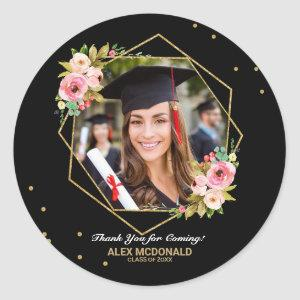 Gold Glitter Geometric Graduation Thank You Favor Classic Round Sticker