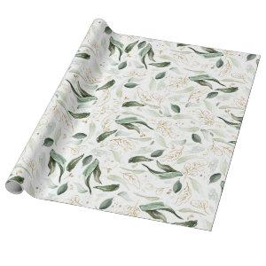Gold Glitter Leaves Greenery Elegant Romantic Wrapping Paper