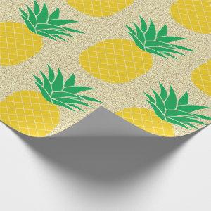 Gold Glitter Pineapple Wrapping Paper