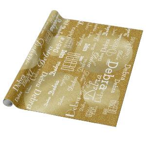 gold golden glitter personalized name pattern wrapping paper