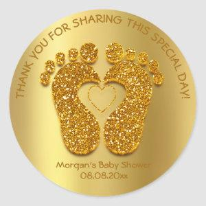Gold Heart Feet Baby Shower Favor Gift Thank You Classic Round Sticker
