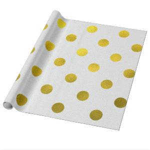 Gold Leaf Metallic Faux Foil Large Polka Dot White Wrapping Paper