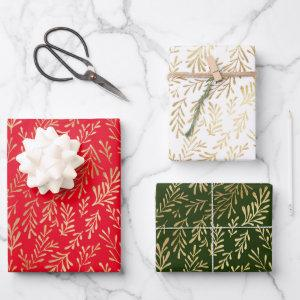 Gold Leaf Pattern Red Green White Christmas Wrapping Paper Sheets
