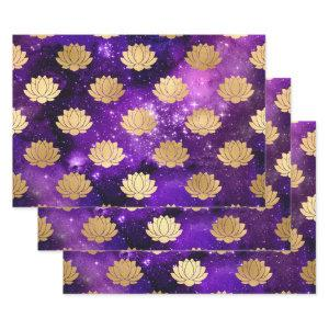 Gold Lotus on Purple Galaxy Wrapping Paper Sheets