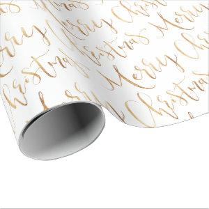 Gold Merry Christmas Calligraphy Holiday Wrapping Paper