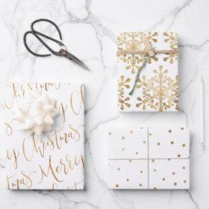Gold Merry Christmas Script Snowflakes Star  Sheets