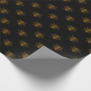 Gold Metallic Foil Bees on Black Wrapping Paper