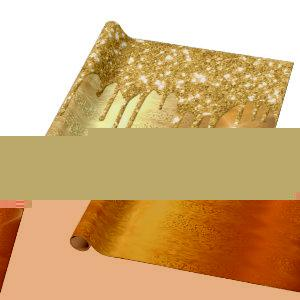 Gold Metallic Sparkly Drips Glitter Bridal Wedding Wrapping Paper