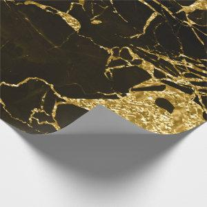 Gold Molten Abstract Metallic Black Marble Wrapping Paper