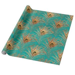 Gold Peacock Feathers on Aqua Wrapping Paper