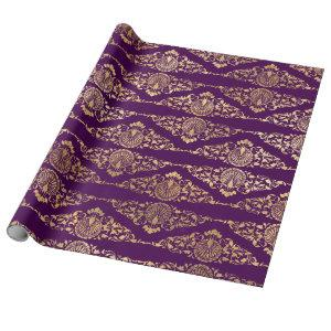 Gold Peacocks and Filigree on Purple Wrapping Paper