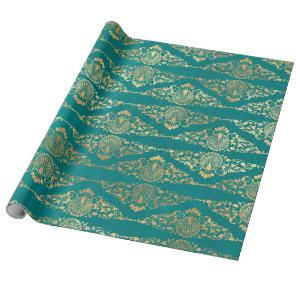 Gold Peacocks and Filigree on Teal Wrapping Paper