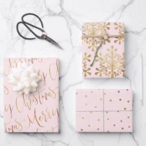 Gold Pink Merry Christmas Script Snowflakes Stars Wrapping Paper Sheets
