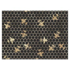 Gold Queen Bees and Honeycomb on Black Decoupage Tissue Paper