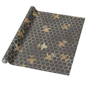 Gold Queen Bees and Honeycomb on Grey Wrapping Paper