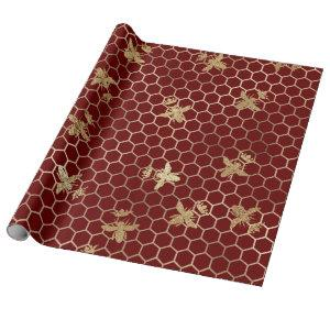 Gold Queen Bees and Honeycomb on Red Wrapping Paper