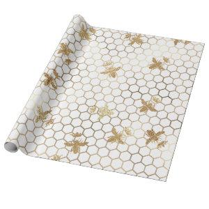 Gold Queen Bees and Honeycomb on White Wrapping Paper