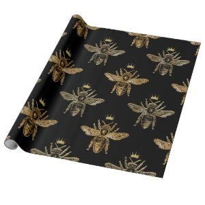 Gold Queen Bees on Black Wrapping Paper