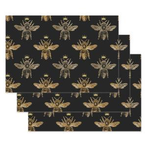 Gold Queen Bees on Black Wrapping Paper Sheets