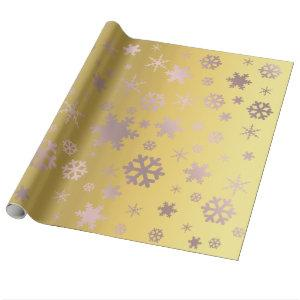 Gold & Rose Gold Christmas Snowflake Pattern Wrapping Paper