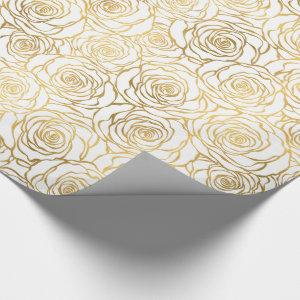 Gold Roses with Pink Wrapping Paper