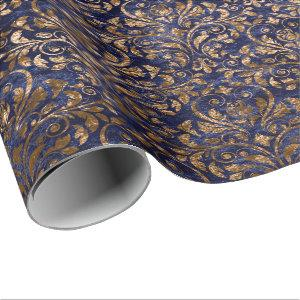 Gold Royal Damask Crushed Velvet Blue Navy Copper Wrapping Paper