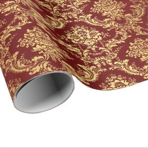 Gold Royal Damask Floral Maroon Burgundy Red Lux Wrapping Paper