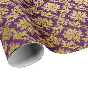 Gold Royal Damask Floral Purple Plum Baroque Wrapping Paper