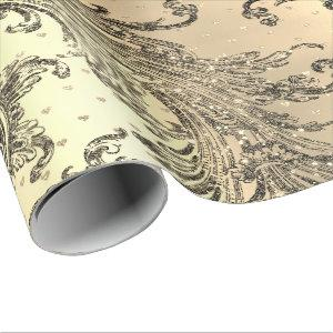 Gold Royal Damask Hearts Black French  Sepia Faux Wrapping Paper