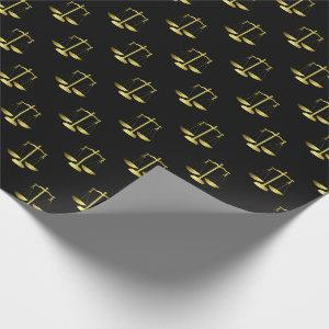 Gold Scales Of Justice on Black Repeat Pattern Wrapping Paper