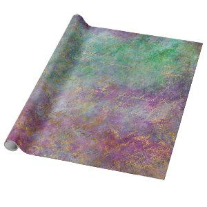 Gold Script on Purple and Green Wrapping Paper