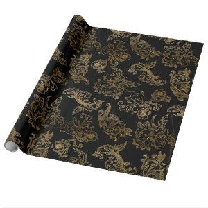 Gold Scrolls | Faux Black Marble Wrapping Paper