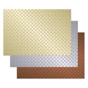 Gold Silver And Bronze Diamond Plate Pattern Wrapping Paper Sheets