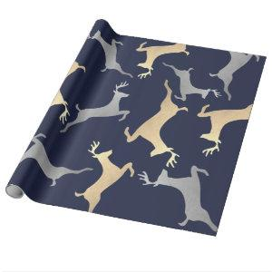Gold Silver Reindeer Christmas Holiday Navy Blue Wrapping Paper