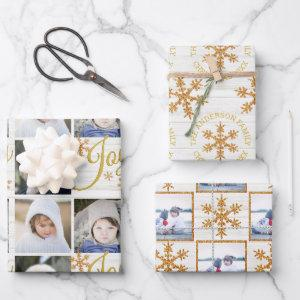 Gold Snowflake Christmas Holiday Your Photos Wrapping Paper Sheets