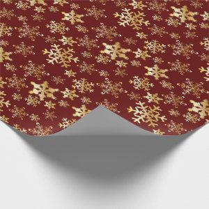 Gold Snowflakes on Deep Red