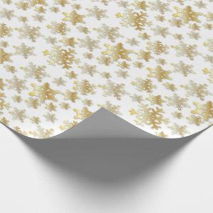 Gold Snowflakes with Drop Shadow - Wrapping Paper
