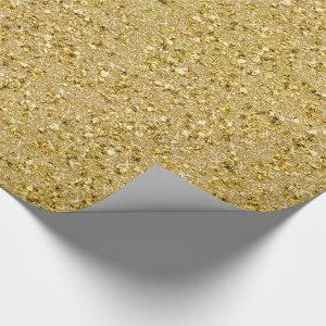 Gold Sparkles - Jeweled Gold Faux Glitter1 Wrapping Paper