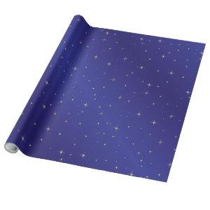 Gold Stars Blue Sky Wrapping Paper