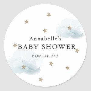 Gold Stars & Fluffy Clouds Baby Shower Sticker