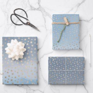 Gold Stars Moons Blue Ombre Wrapping Paper Sheets