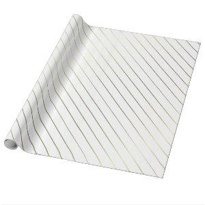 Gold Striped Glamour Shiny Design Elegant Wrapping Paper