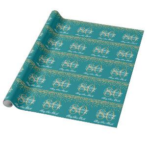 Gold Teal 80th Birthday Glitter Confetti Wrapping Paper