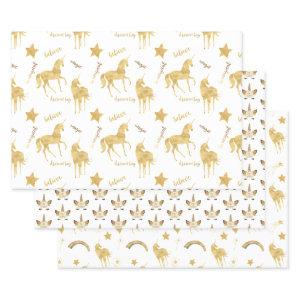 Gold Unicorn Wrapping Paper Sheets