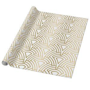 Gold & white art-deco seamless pattern wrapping paper