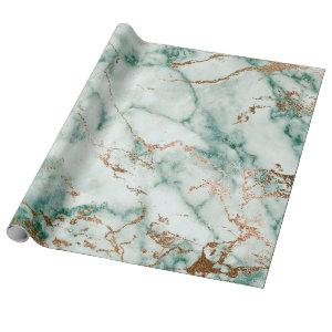 Gold White Deep Green Marble Stone Brushes Wrapping Paper